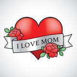 Mother's Day Heart With Roses Tattoo Template Gree Royalty Free Stock Photos