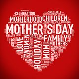 Mother`s day heart shape wordcloud tag stock illustration