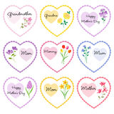 Mother`s day hearts with flowers Stock Photography