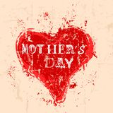 Mother`s day illustration, painted heart symbol, grungy style,vector illustration. Mothers day illustration, painted heart symbol, grungy style,vector royalty free illustration
