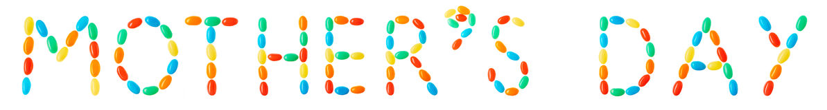 Mother's day lettering made of multicolored candies Stock Image