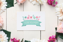 Mother s day with message I LOVE YOU MOM Royalty Free Stock Photography