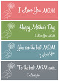 Mother's Day messages. Different illustrations of the messages for Mother's Day Stock Illustration