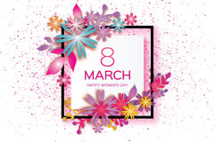 Mother`s Day. Paper flower, leaves. 8 March. Square frame Royalty Free Stock Photos