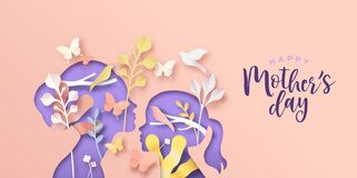 Free Mother`s Day Papercut Card Of Mom And Girl Child Stock Image - 190718411