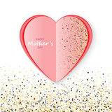 Mother`s day Pink heart confetti. Festive background. Mother`s day Pink heart confetti Stock Photography
