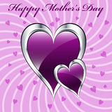 Mother's day purple hearts. With silver casing symbolizing love, set on a lilac swirly background with several smaller purple hearts stock illustration