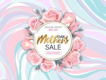 Free Mother`s Day Sale Background With Beautiful Pink Roses On Marble Background. Vector Illustration Template Banners Royalty Free Stock Images - 109578809
