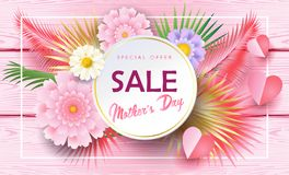 Mother`s Day sale banners set promo flyer. Sale banners set for Mother`s Day gift cards, special offer, discount flyers, web, Spring Holiday decoration, origami Stock Photo