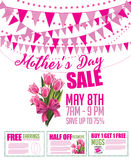 Mother's Day sale bunting and coupon marketing template. Royalty Free Stock Photos