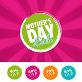 Mother`s day sale color banner and 50%, 60%, 70% & 80% Off Marks. Vector illustration. Eps10 Vector Vector Illustration