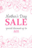 Mother's day sale illustation. Detailed flower drawing. Great ba Royalty Free Stock Photography