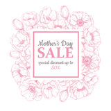 Mother's day sale illustation. Detailed flower drawing. Great ba Stock Photos
