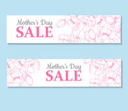 Mother's day sale illustation. Detailed flower drawing. Great ba Stock Image