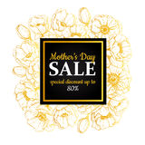 Mother's day sale illustration. Detailed flower drawing. Great b Stock Photo