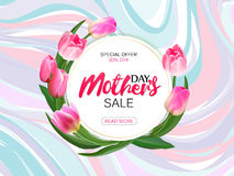 Mother`s day sale offer, banner template. Round banner with lettering on marble background. Feminine sale tag. Shop Royalty Free Stock Photo