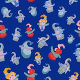Mother`s day seamless pattern on a blue background royalty free illustration