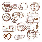 Mother`s day stamp set. Royalty Free Stock Images