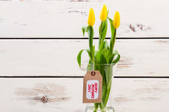 Mother`s Day tag and tulips. Royalty Free Stock Photo
