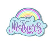 Mother`s Day text with rainbow isolated on background. Hand drawn lettering as Mother`s day logo, badge, icon. Template for Happy Mother`s day, invitation Royalty Free Stock Image
