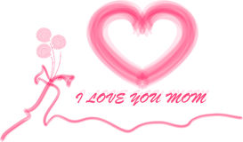 Mothers day type. With a red heart and roses Royalty Free Stock Photos