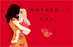 Mother`s day, vector holiday greeting kid parent royalty free illustration