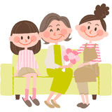 Mother`s day. Vector illlustration of a woman giving her mother a gift on Mother`s Day with her daughter Stock Image