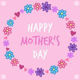 Happy Mother`s Day flower wreath on pink background Royalty Free Stock Photography