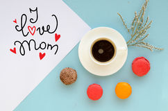 Mother`s Day vintage overhead composition of note Stock Photography