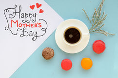 Mother`s Day vintage overhead composition of note Royalty Free Stock Photo