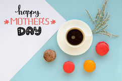 Mother`s Day vintage overhead composition of note Royalty Free Stock Image