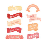 Mother`s day warm sweet ribbon set. Mother`s day warm sweet element set. Illustration of ribbon set royalty free illustration