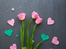 Mother`s Day, woman`s day. pink tulips on wooden background royalty free stock photography