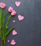 Mother`s Day, woman`s day. tulips  on wooden background Stock Photography