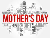 Mother`s Day word cloud, care, love, family Stock Photography