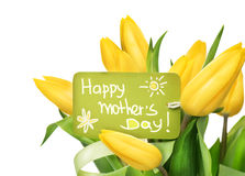 Mother's Day yellow tulips flower bunch stock image