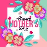 Mother&-x27; s dnia kartka z pozdrowieniami z kolorowymi okwitnięcie kwiatami Jaskrawa ilustracja z pięknymi kwiatami i cieniem royalty ilustracja