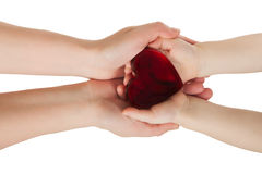 Mother's hands holding baby hands with heart Royalty Free Stock Photos