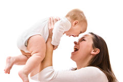 Mother's love. Cute little baby with mother Stock Photo