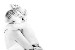 Mother's Love. Mother holding his baby. black and white image. high contrast Royalty Free Stock Photos
