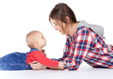 Mother's love. Cute baby 7  month boy with mother Stock Photos