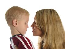 Mother with sad boy. Isolated Stock Images
