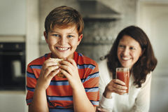 Mother Sandwich Kid Bread Caring Happy Health Concept Royalty Free Stock Photos
