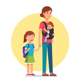 Mother with schooler daughter and infant baby son. In sling. Single parent concept. Flat style vector illustration isolated on white background Stock Image
