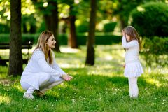 Mother scolding child royalty free stock images