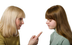 Mother scolding daughter Royalty Free Stock Photography