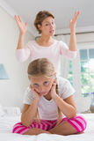 Mother scolding her naughty daughter Royalty Free Stock Images