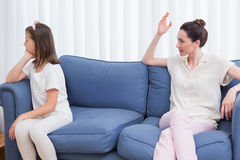 Mother scolding her naughty daughter Royalty Free Stock Image