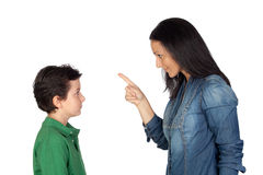 Mother scolding her son Stock Photo
