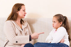 Mother scolding little daughter Royalty Free Stock Photography